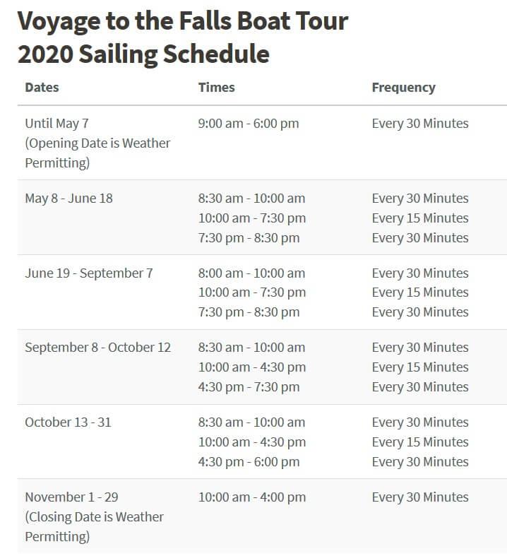 2020年ホーンブロワー・ナイアガラ・クルーズのスケジュール