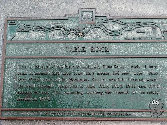 ナイアガラの滝のテーブルロックの看板