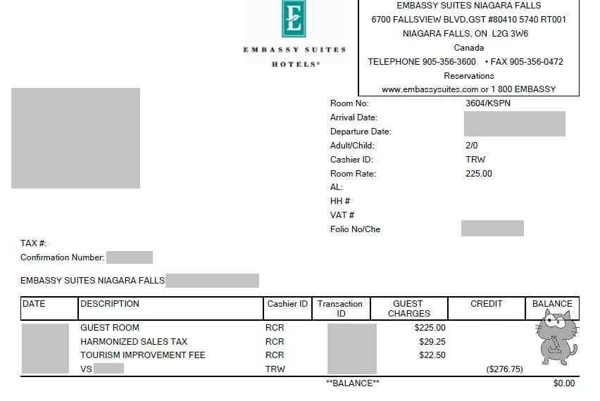 エンバシー・スイーツ・ナイアガラ・ホテルのコスト