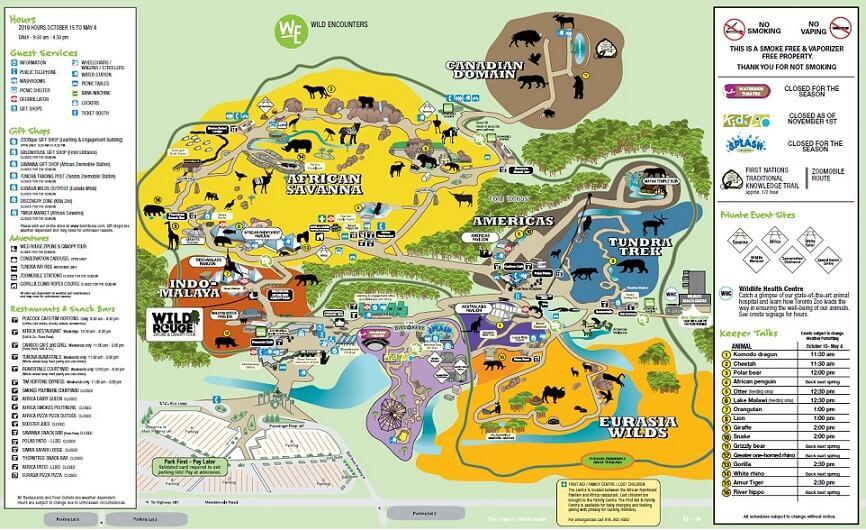 トロント動物園のマップ