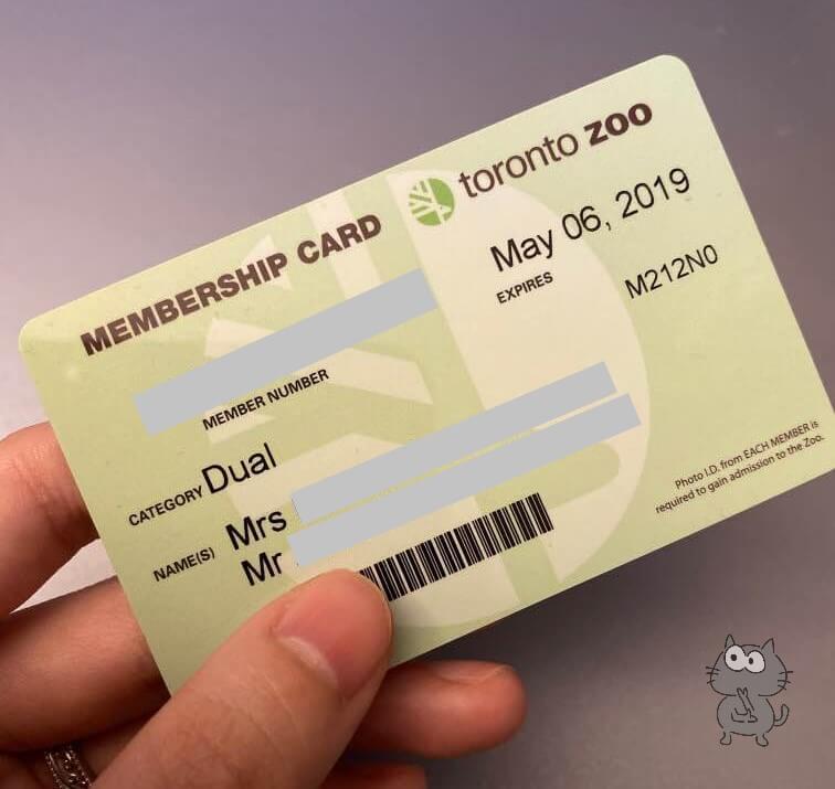 トロント動物園メンバーシップカード