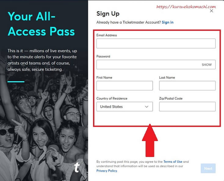 チケットマスター(Ticketmaster)でのアカウント登録 サインアップ画面