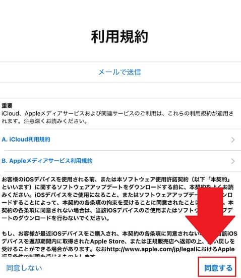 apple ID同意確認画面