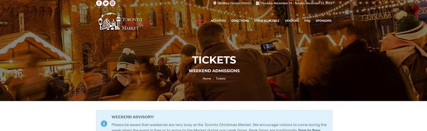 トロントクリスマスマーケットのチケット購入方法1