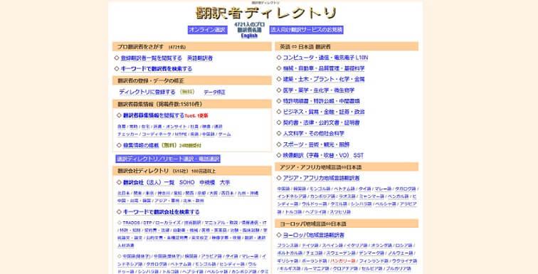 翻訳者ディレクトリのメインページ